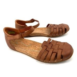 Ahnu Malini Flat ankle strap leather brown sandals